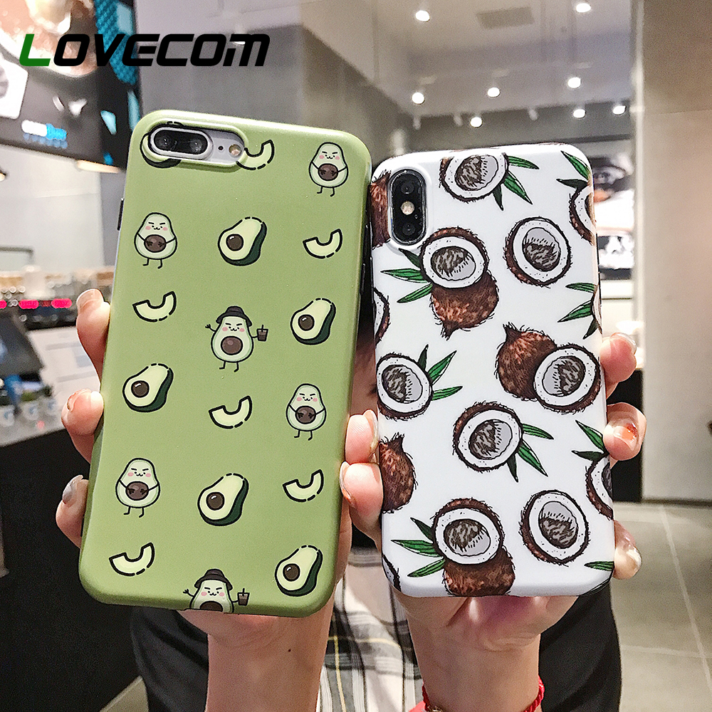 LOVECOM Cartoon Fruit Avocado Phone Case For IPhone XR X XS Max Case For IPhone 7 8 6 Plus Full Body Cover Soft Phone Shell Capa