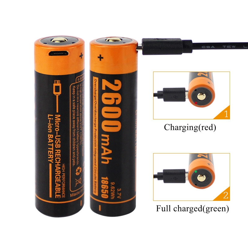 18650 Rechargeable Battery 2600mAh USB Charge 18650 Batteries 3.7V lithium Battery for Power Bank Flashlight