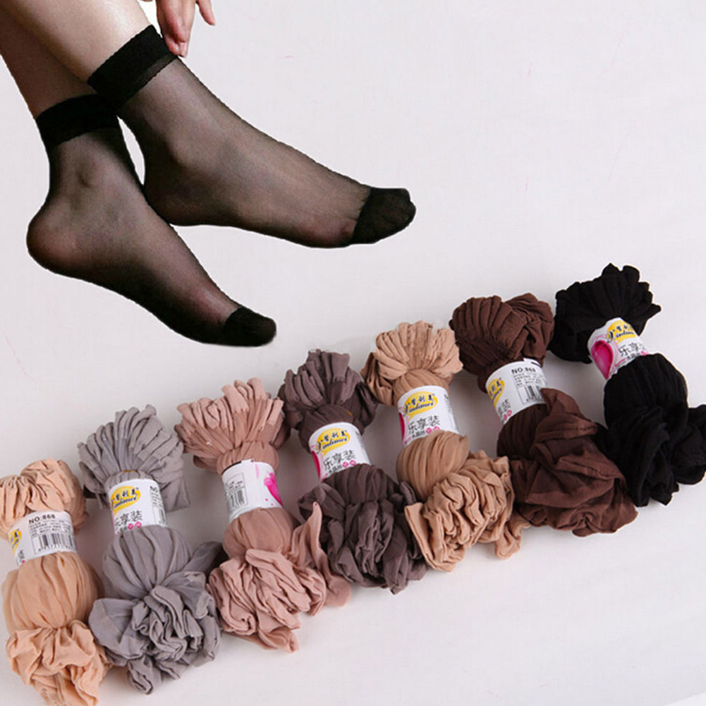 10 Pairs Women Nylon Elastic Sheer Silk Short Socks Mesh Ankle Socks