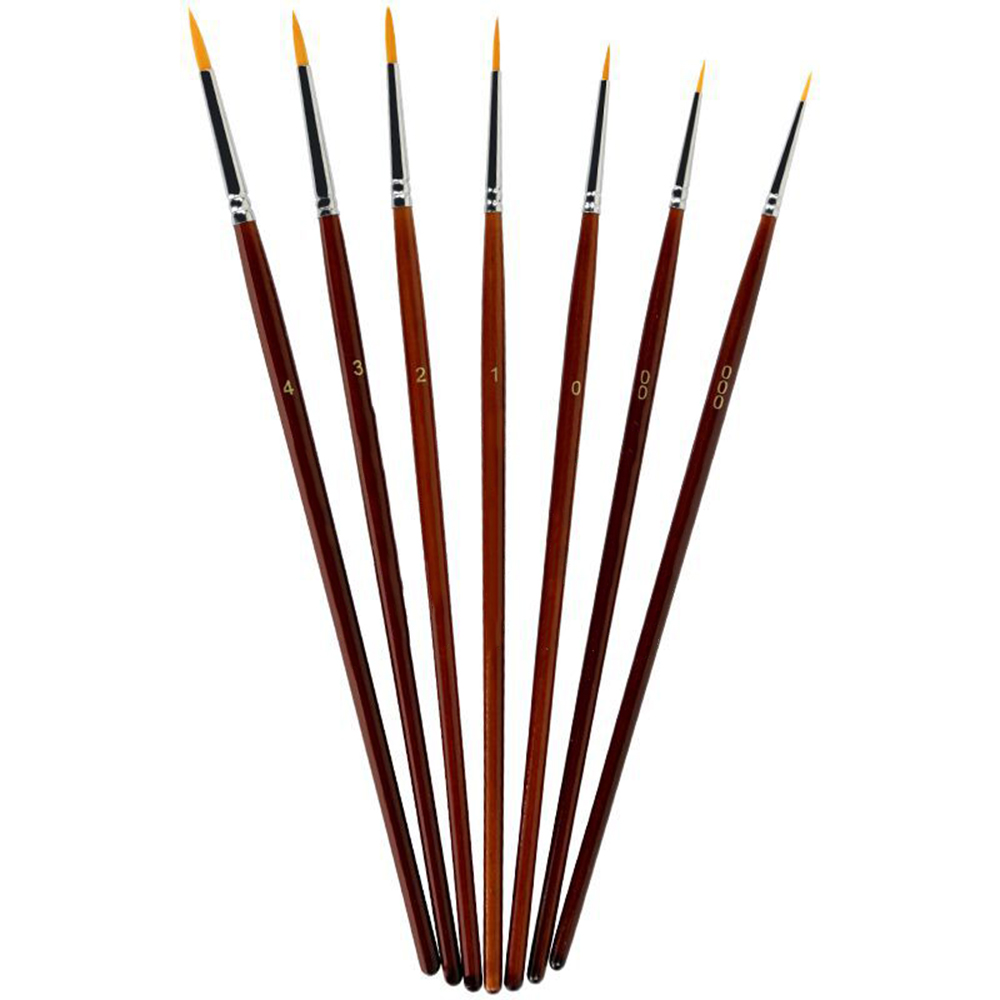 7Pcs/set Paint Brush Set Sable Hair Detail 7 Miniature Acrylic Nail Brushes Art Painting Drawing Brushes Pen Practical Safety