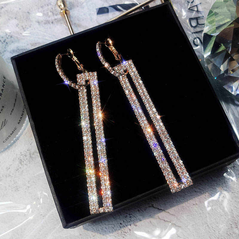 2019 Long Luxury Rhinestone Earring Geometric Drop Earrings Rose Gold Silver Color Rectangle for Women Party Jewelry