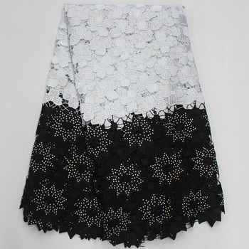 White and black african fabric high quality lace yellow water soluble fabric african guipure lace cord fabric for sewing