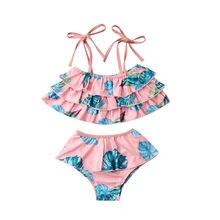 Mother Daughter Palm Leaf Bikini Swimwear