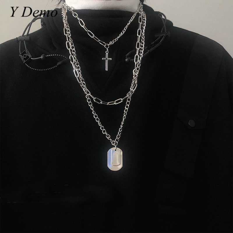 Punk Retro Crossing Chain Necklace Couple Fashion Streetwear Harajuku Pendant Necklaces