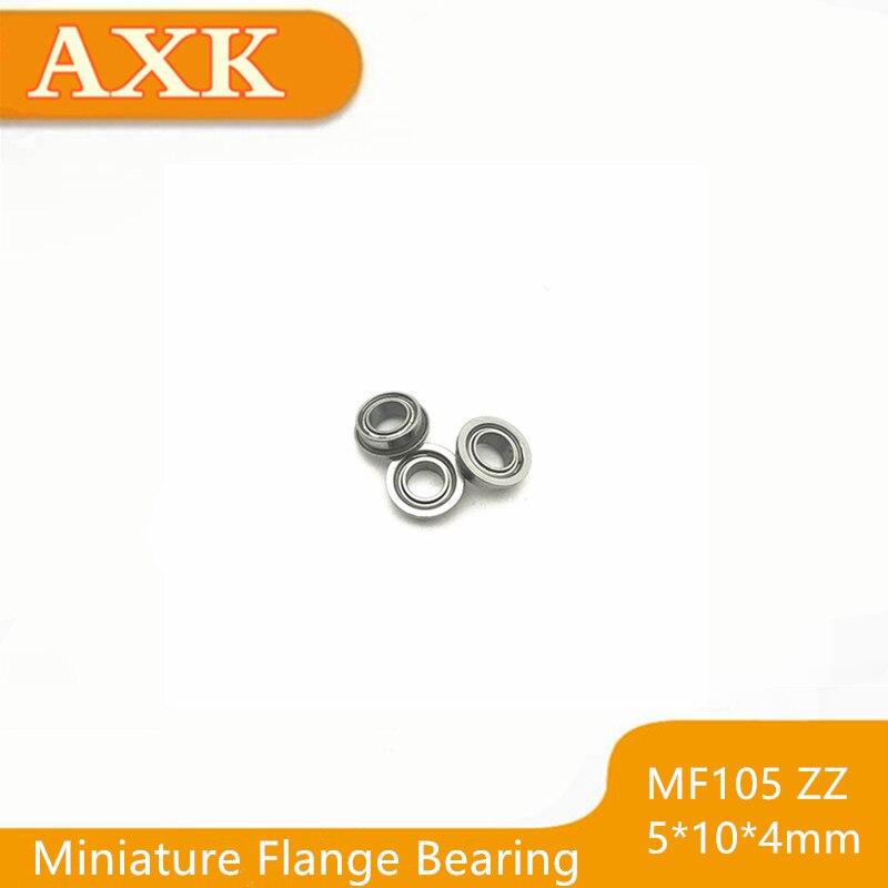 MF105ZZ 5x10x4mm Miniature Metal Bearing Flanged Ball Bearing 10 PCS