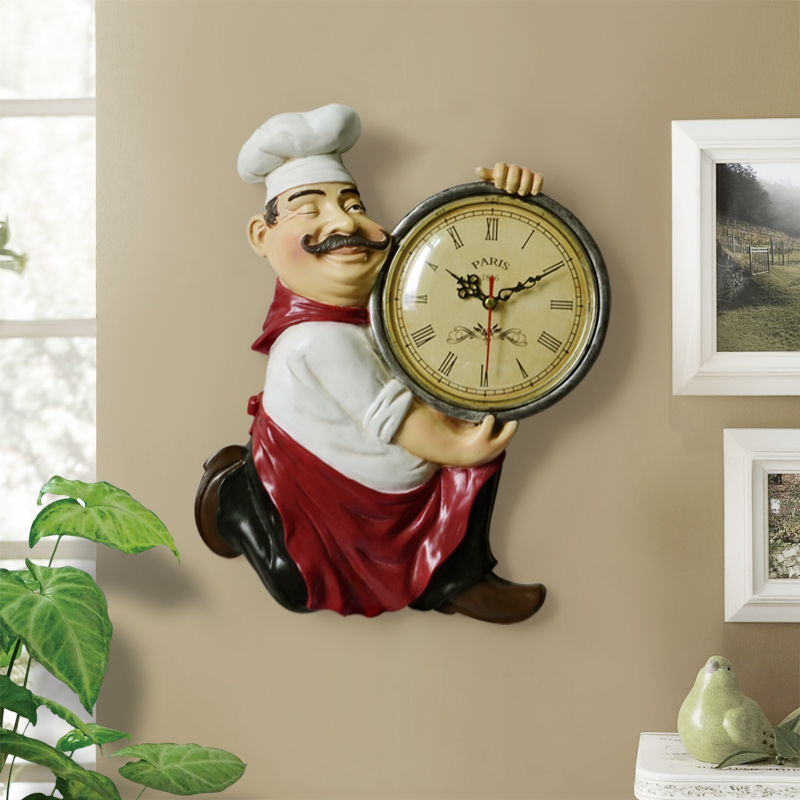 Vintage Wall Clock  Home Decoration Resin Chef Statue Watch Mute Quartz Clock For Living Room Kitchen Wall Decor Hanging Clock