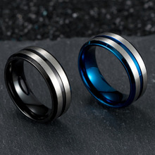 цена на Classic Men's 8mm Stainless Steel Silver Ring One Tone Matte Finish Brushed Center Wedding Band Beveled Blue And Black Rings