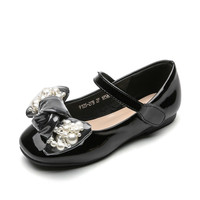 Spring 2019 Girls Faux Pearl Bowknot Fashion Flats Toddler/little/big Kid Princess Mary Jane Children Shallow Soft Sole Shoes