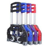 Outdoor Camping Seaside Shopping Aluminum Alloy Portable Trolley Foldable Loader Trailer Telescopic Type Light Luggage Carts