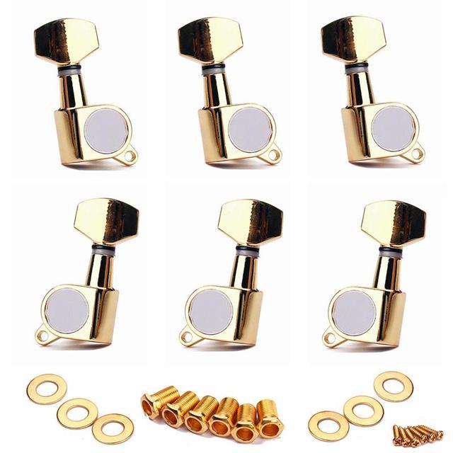 גיטרה חשמלית מחרוזת Inline כוונון יתדות מכונת Heads מקלט רדיו מפתחות 6L (זהב) צעצוע כלי נגינה
