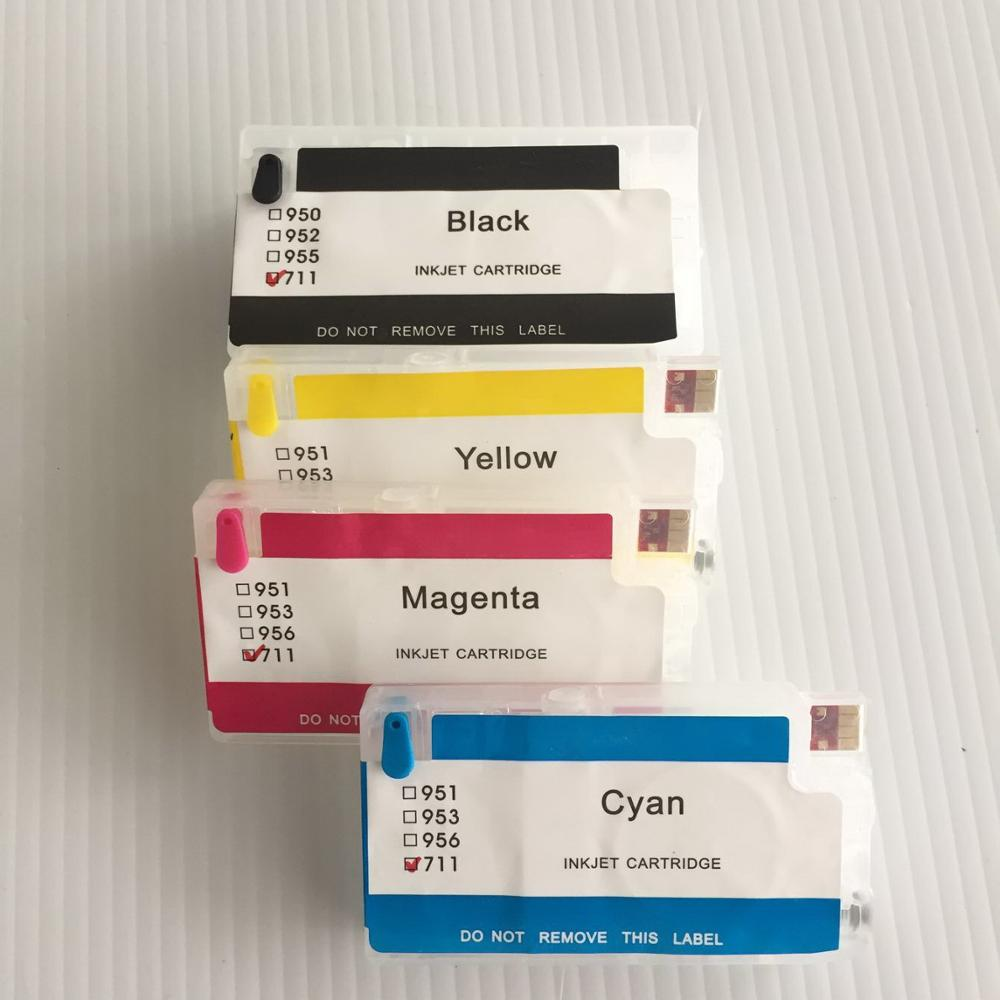 YOTAT refill ink cartridge for HP711XL HP711 HP 711 for HP Designjet T120 24T520 24T520 36 T120 610 T520 hp711 printing ink refill kit 4color 1000ml for hp designjet t520 t120 printer