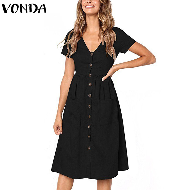 425419a4bd867 VONDA Women Knee length Dresses 2019 Summer Pregnant Vintage Sexy V Neck  Short Sleeve Casual Maternity Buttons Plus Size Vestido-in Dresses from  Mother ...