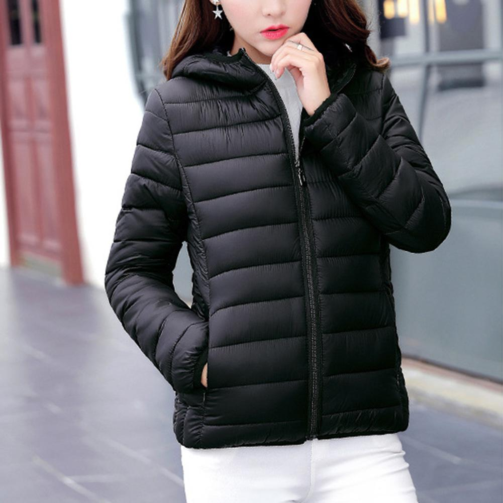 Women Winter Warm Jacket Hooded Ultra Light Weight Short Jacket Casual Solid Cotton-padded   Parkas   Thicken Outerwear Coats tops