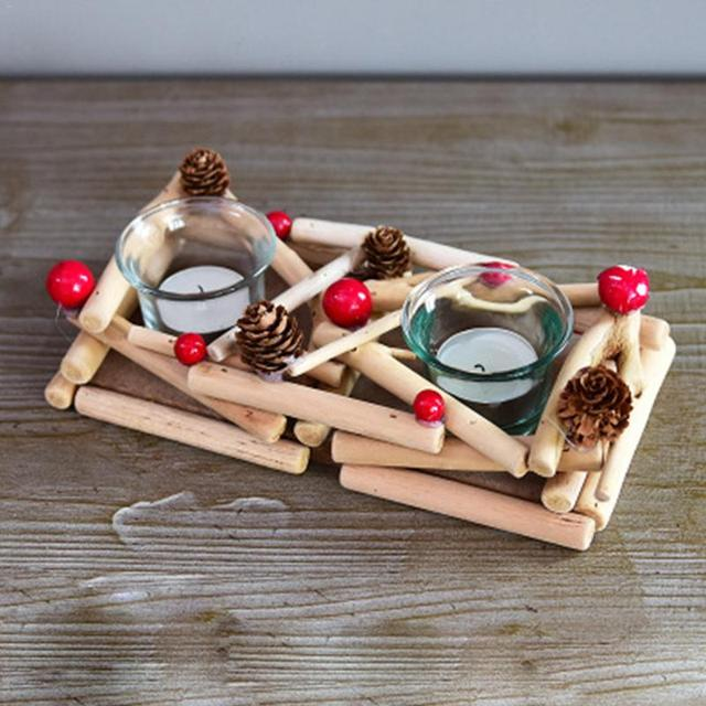 Christmas Driftwood Wooden Pine Cones Red Berry Candlestick Decoration Glass Candle Cup Nordic Wooden Craft Candle Holder
