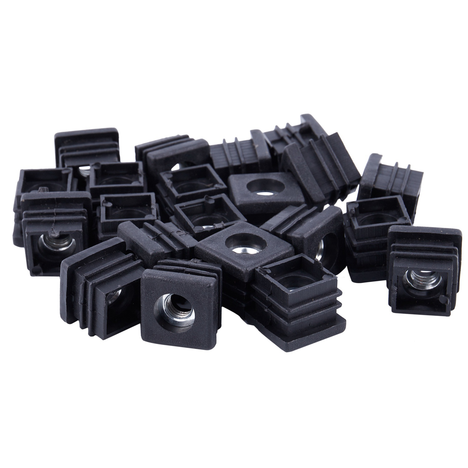 Promotion! 20Pcs Black Square Tubing Pipe End Caps Insert Plugs M8 Thread 20x20mm