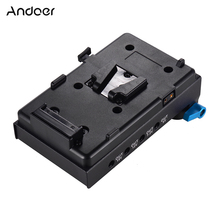 Andoer V Góra Bateria Płyta Adapter z Podwójnym Hole Rod Clamp Obojętne Baterii Adapter do BMCC Canon dla Audio Recorder mikrofon(China)