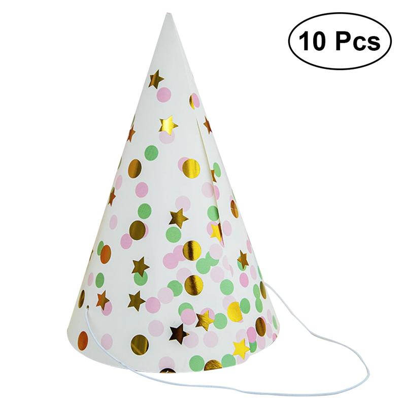 10pcs/set Colorful Stylish Elastic Cute Paper Party Hats Festive Prop For Anniversary Party Adults Kids, Birthday Cartoon Hats