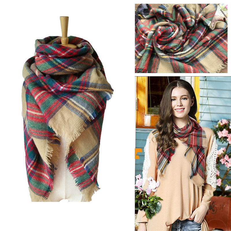 2017 Fashion Women Ccarves Women Blanket Oversized Tartan   Scarf     Wrap   Shawl Plaid Cozy Checked Pashmina