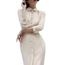 فستان نسائي أبيض كريمي فستان أودري هيبورن بياقة بيتر بان مع حزام بزر ميدي مناسب للعمل للنساء