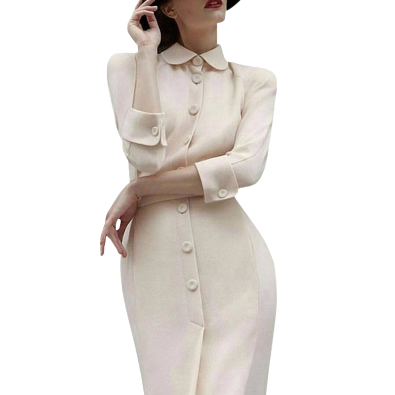 dressing dresses for women creamy white audrey hepburn dress  peter pan collar belted button midi business dress for women  officeDresses