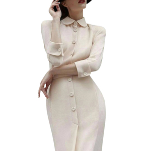 Image 1 - dressing dresses for women creamy white audrey hepburn dress peter pan collar belted button midi business dress for women office