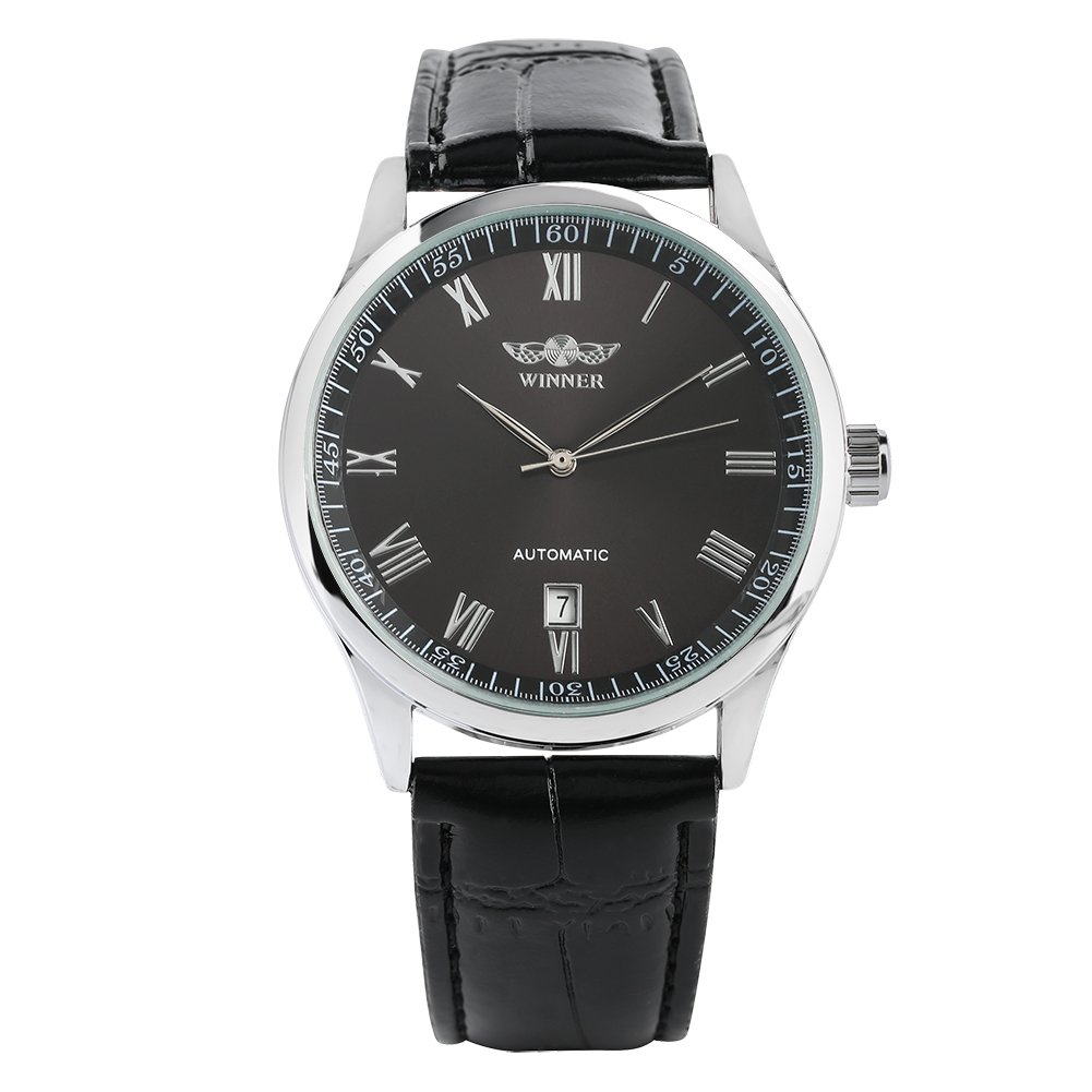 Men's Watch Automatic Mechanical Wristwatch Stainless Steel Case Black Leather Strap Watch For Men
