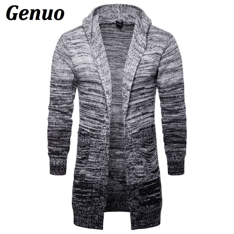 Genuo Cardigans Gradient Grey Long Sweater Coat Tracksuit Male Casual Color Block Hooded Sweatshirt Tops Pull Homme Hiver