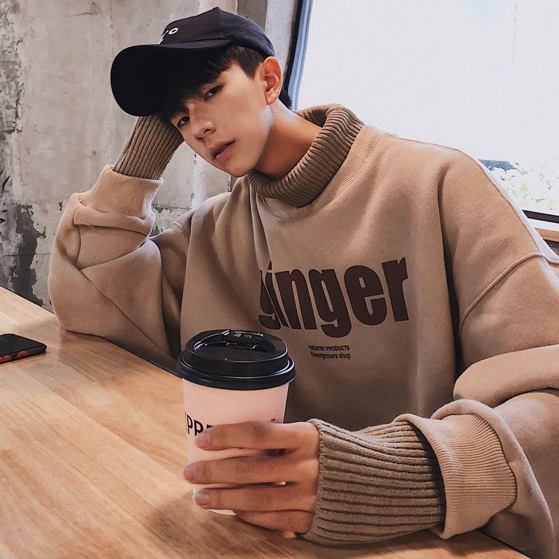 새로운 겨울 플러스 벨벳 닦았 칼라 캐주얼 스웨터 재킷 블루/카키/블랙/그레이 M XL 2018 한국어 버전-에서후드티 & 스웨터부터 남성 의류 의  그룹 1