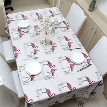 Linen Table Cloth Nordic Mantel Style Flamingo Print Multifunctional Rectangle Table Cover Tablecloth Home Kitchen Decoration flamingo print table mat