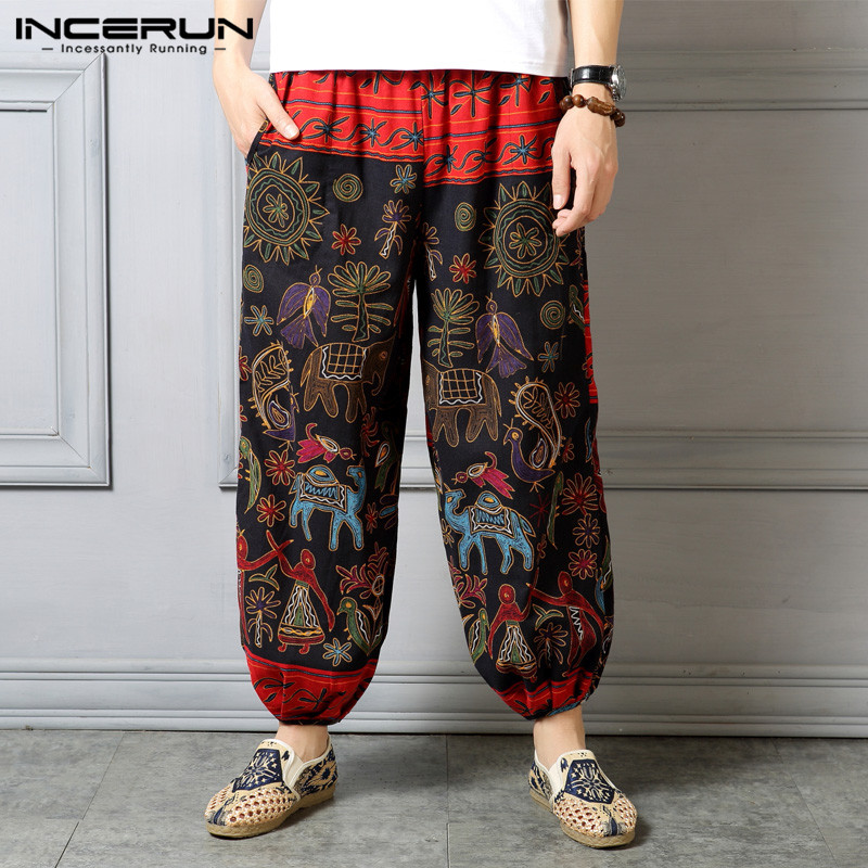 INCERUN Trousers Men Leg-Pants Printed Ethnic-Style Hip-Hop Loose Baggy Streetwear Vintage