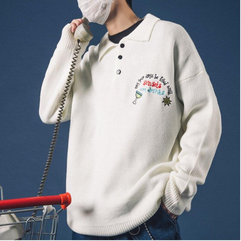 2018 Nouveautés Automne Et Hiver Polo de Broderie En Tricot Chandail Couleur Uni Simple pullover décontracté homme Noir/Blanc M-XL