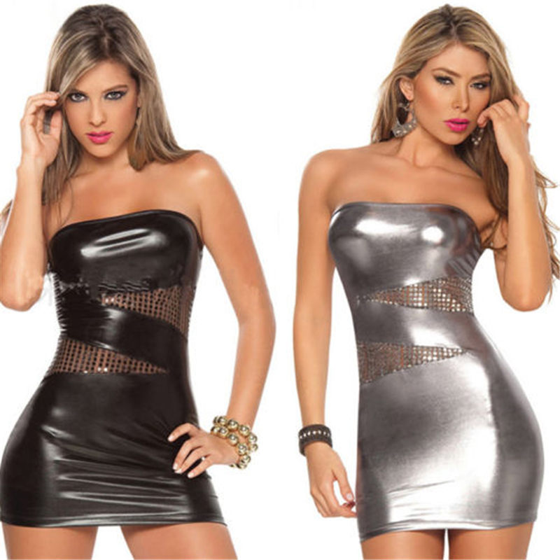 Hirigin Fashion Sexy Women Leather Wet Look Hollow out Clubwear Ladies Dresses Newly Summer Female Comfort Slim Dress