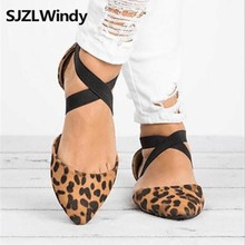 SJZLWindy Shoe store2019Woman Vintage Women Sandals Ladies Fashion Pointed Toe Flat Leopard Casual Single Shoes
