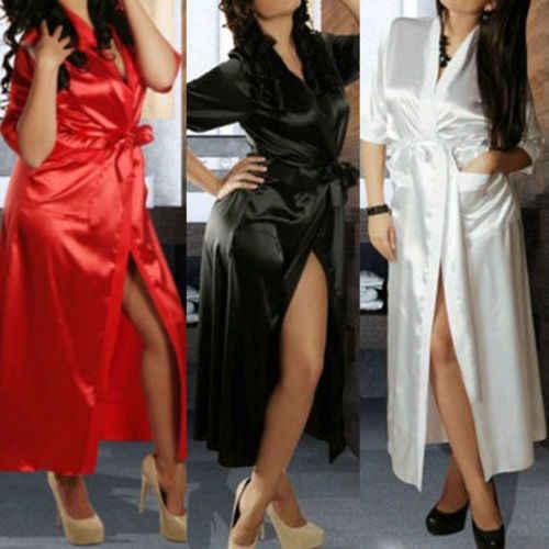 新レディース高級シルク寝間着サテン着物パジャマベビードールランジェリードレッシングガウンローブエキゾチックなドレス黒、赤、白