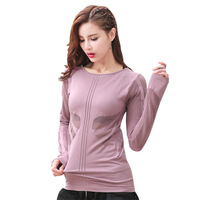 Solid Hollows Top Women Oansatz Sports Top Long Sleeves Breathable Run Gym Fitness Yoga Shirt For Women Workout