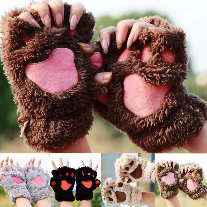 winter warm half finger cute bear cat paw plush mittens. Black Bedroom Furniture Sets. Home Design Ideas