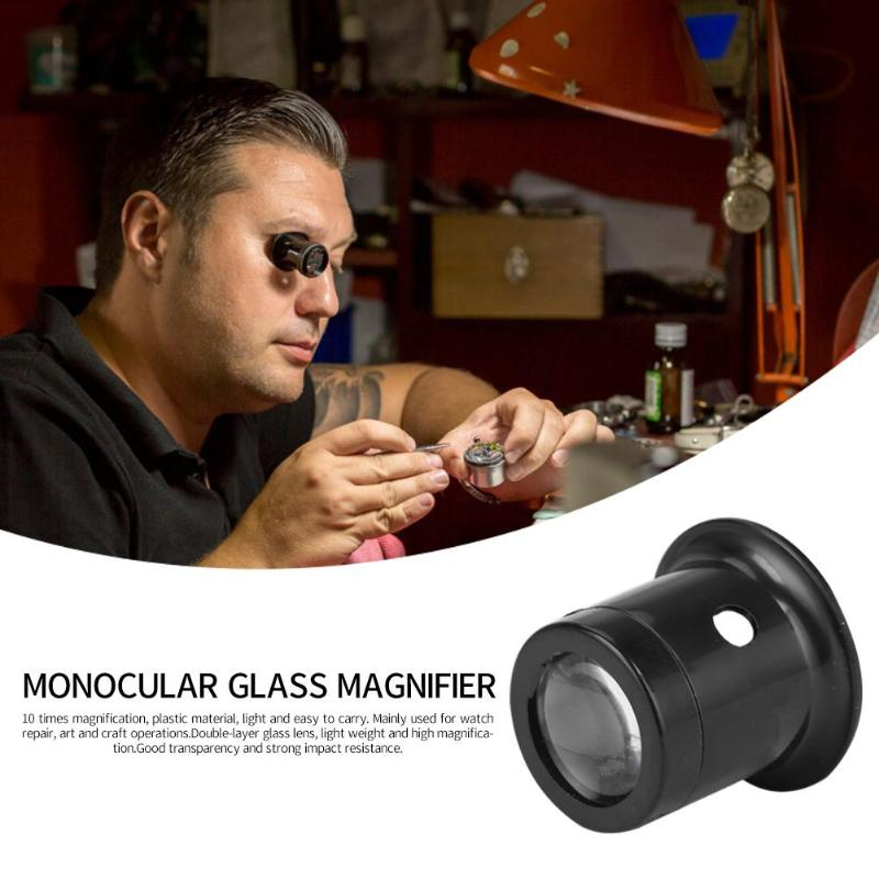 10X Monocular Glass Magnifier Watch Jewelry Repair Tools Loupe Lens Black Professional Eye Optical Loop Magnifying Tool