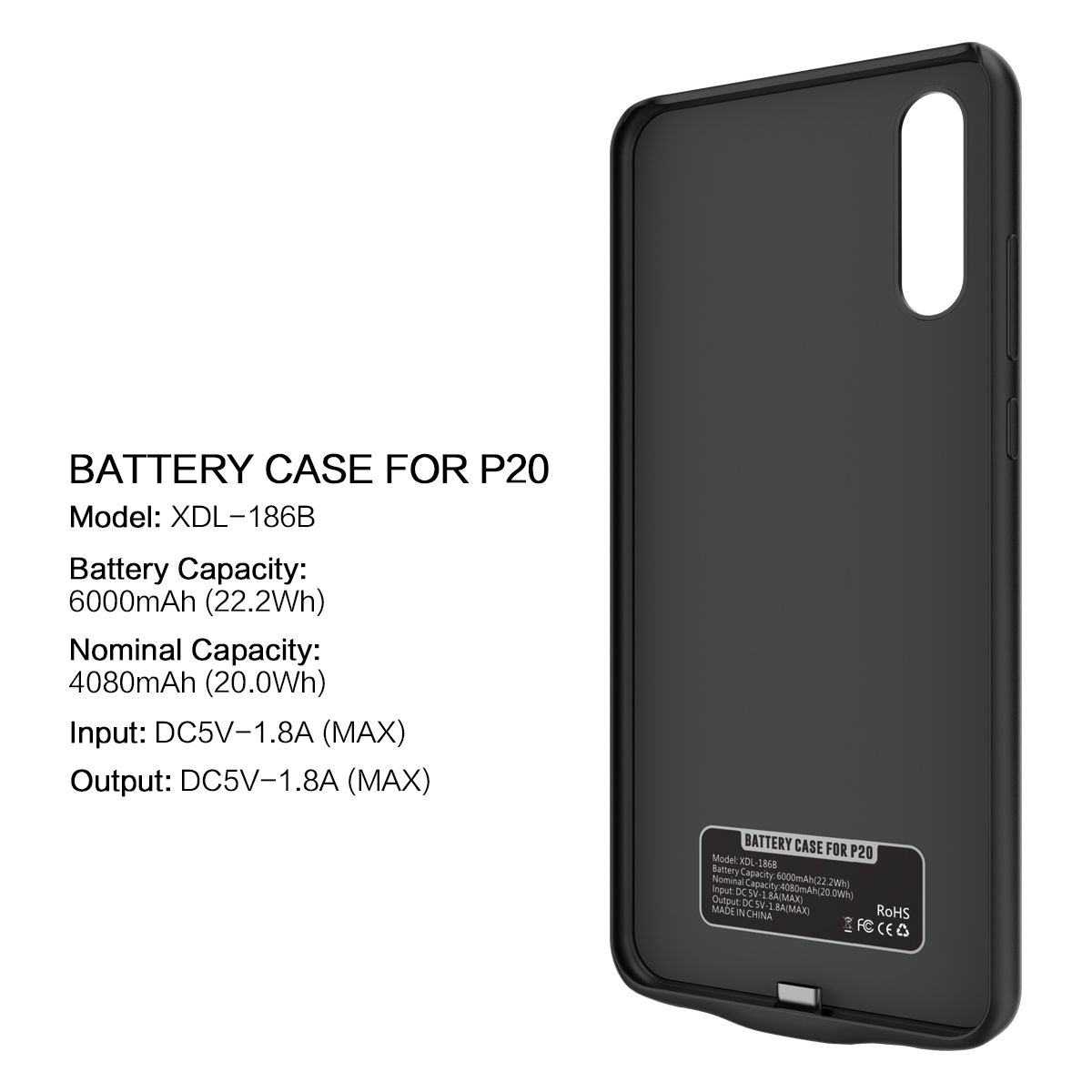 CASEWIN Battery Charger Case For Huawei P20 Case 6000mA Power Bank Capacity Battery External Backup Charger PowerBank phone Case