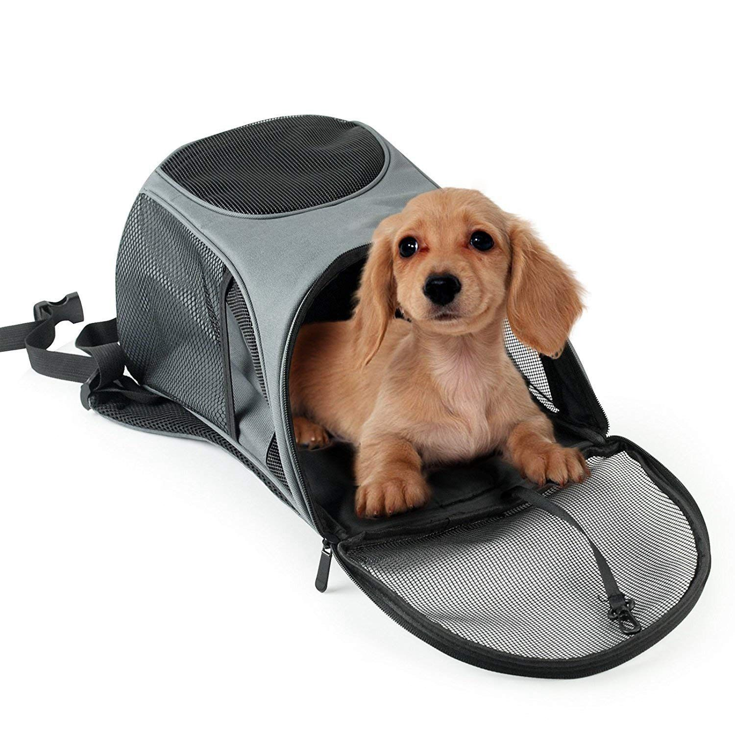 Pet Carrier Backpack for Small Dogs Cat Rabbit Breathable Mesh Pup Pack Outdoor Travel Carrier for Walk Hiking Cycling by P