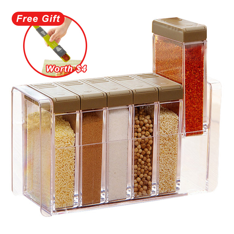Cocina condimento botellas frascos cajas de especias de plástico tapa puede azúcar capas de almacenamiento organizador caja organización accesorios artículo