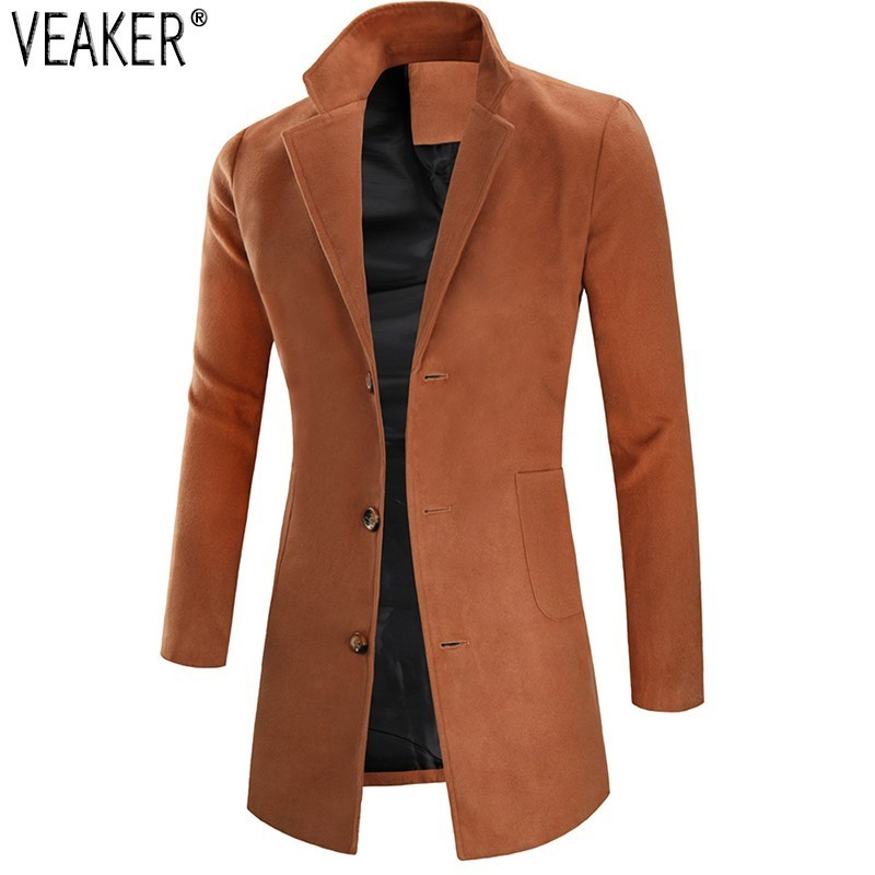 Jacket Coat Wool Outerwear Slim-Fit Cashmere Black Autumn Male Men's Winter New 3XL Khaki