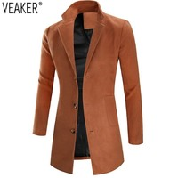 2019 Autumn Winter New Men's Wool Blends Long Coat Jacket Male Slim Fit Cashmere Overcoats Outerwear khaki Black Wool Coats 3XL