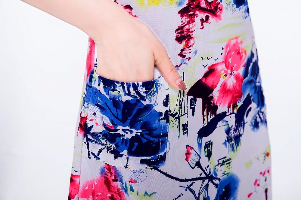 2019 Women dress summer Casual Plus Size Slim Tunic Milk Silk print Floral dresses sexy bodycon sundress vestidos mujer