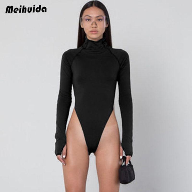 2019 New Brand Fashion Women Turtle Neck Long Sleeve Stretch Leotard Bodysuit Ladies Top Blouse Romper