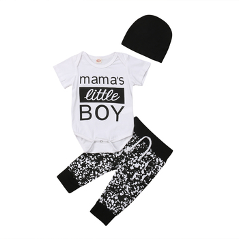 daa668970 Mamá es un poco niño recién nacido bebé niño de algodón de manga corta mono  Tops pantalón sombrero 3 piezas trajes de bebé niño conjunto de ropa