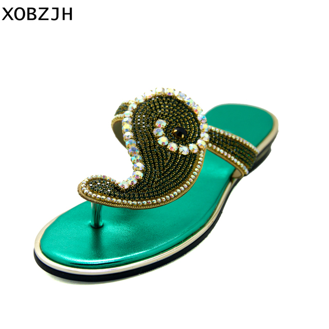80a73017fca630 Summer Women Shoes Flat Sandals Luxury Ladies Rhinestone Shoes Woman 2019 gold  Flip Flops Sandals Slippers Women Lager Size 11