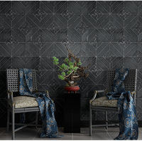 New Chinese Style Vintage Black Gray Brick Stone Wallpaper Embossed Restaurant Hotel Living Room Geometric Wall Paper Roll