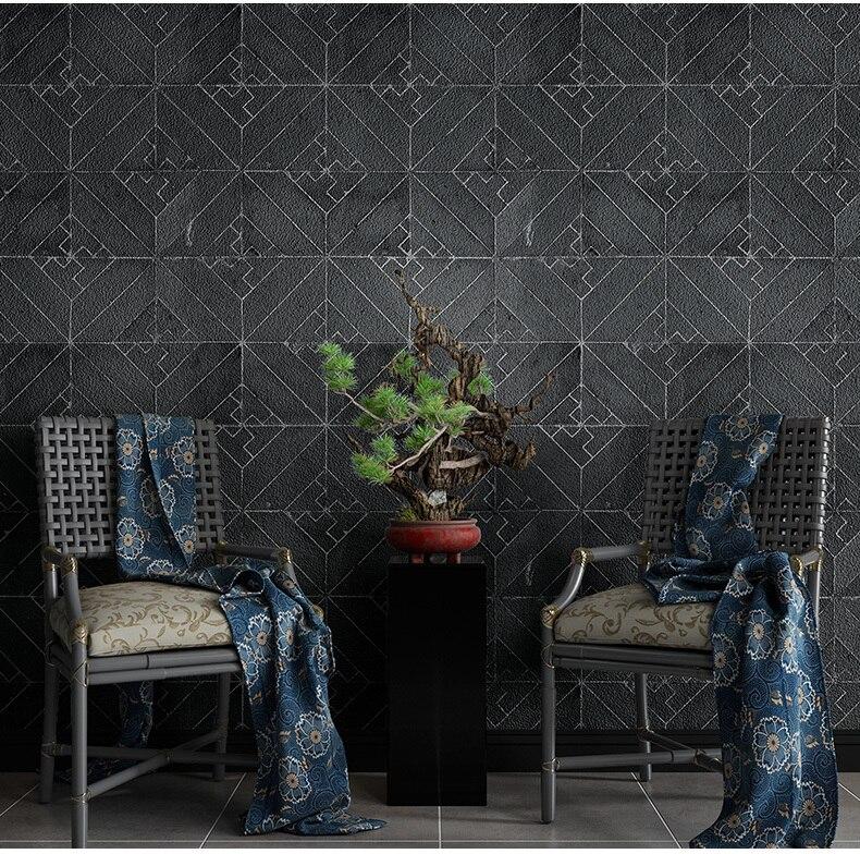 Nouveau Style chinois Vintage noir gris brique pierre papier peint en relief Restaurant hôtel salon géométrique papier peint rouleau