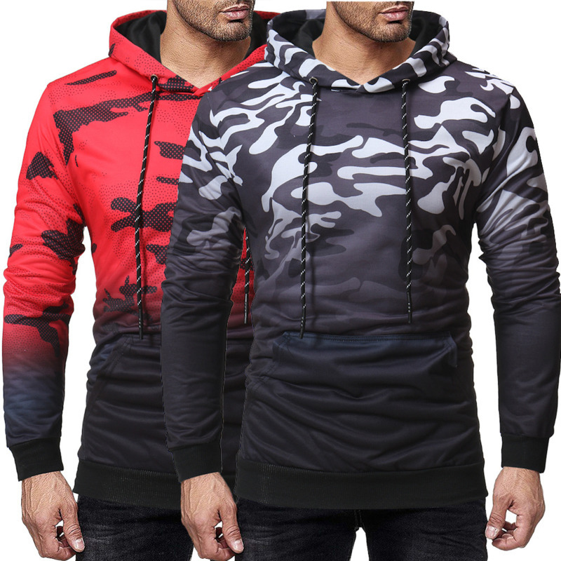 Autumn Winter Mens Fashion Camouflage Sweatshirts Long Sleeved Hoodies men Casual Contrast Color Slim Hooded Coat