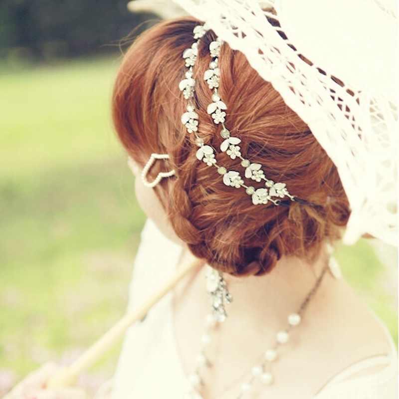 Wanita Kristal Bunga Fashion Manis Malam Karet Rambut Aksesoris Liburan Hai... Karangan Bunga Putri Pesta Perhiasan